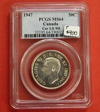 1947 ML C. Left Canada Silver Half Dollar 50 Cent Coin B326 - $900 PCGS MS-64