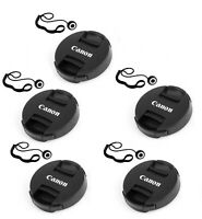 "(5 Packs)  49mm Snap-On Front Lens Caps with lens Keeper for Canon ""US Seller"""
