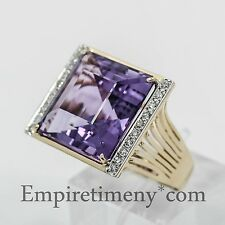 18K Gold Amethyst 0.50Ct Diamonds Cocktail Ring