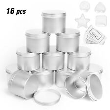 16pcs Silver Round Candle Tin 100ml Tins WAX Soy Making Container Jar Organizer