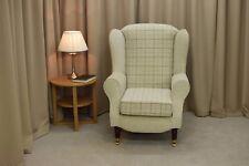 Duchess Wingback Armchair in Maida Vale Check & plain Fabric-Front Castor Feet