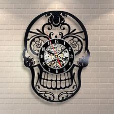 Skull Vinyl Clock Gothic Skeleton Head Halloween Decor Ornament Figurine Human