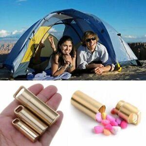 Waterproof Bottle Holder Brass Container Keychain Medicine Capsule Pill Box Case