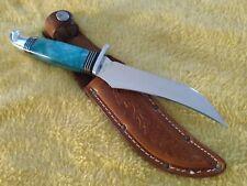 "Western S-639 Turquoise Pearl  9 1/4"" Fixed Blade Hunting knife w/sheath"