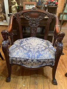 #8003 Pair of Mahogany Lady's and Gent's chairs by Karpen C 1890