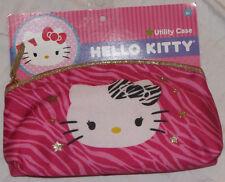 HELLO KITTY PURSE UTILITY CASE HANDBAG GIRLS ACCESSORIES WALLET PINK GOLD ZIPPER