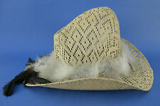 Rocamar Western Cowboy Hat Coated Size 6 7/8 Feathers Mexico