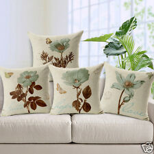Set of 4 Retro Vintage Flowers Print Cotton Line Decorative Throw Pillow Cover