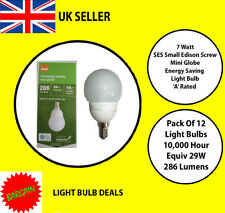 PACK OF 12 X 7 WATT SES LOW ENERGY SMALLROUND  A RATED 10000 HOUR A RATED NEW
