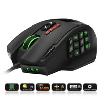 Rocketek USB wired Gaming RGB Mouse 16400 DPI 19 buttons programmable game mice