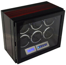 6 Watch Winder Black With Ebony Wood Grain LED Touch Pad Controls w/ Remote