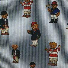 Vintage Ralph Lauren Teddy Bear Blue Stripe Twin Flat Sheet Cotton USA Made