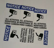 VIDEO SURVEILLANCE CCTV Security Decal  Warning Sticker (2.75x4in)set of 5 blue