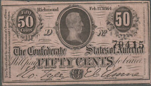 Confederate T72 Fifty Cent Note