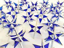 Lot of 200 !!  Stained Glass Moravian STARS Iridescent DARK BLUE ! Handmade !