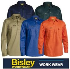 BISLEY WORKWEAR - COTTON DRILL CLOSED FRONT LONG SLEEVE WORK SHIRT - BSC6433