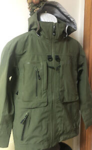 NWT $399 Grundens Dark & Stormy GorTex Olive Green Sz Sm Wading Fishing Jacket