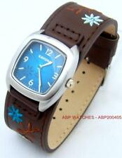 KAHUNA WOMENS BLUE DIAL BROWN FLOWER PATTERN CUFF PU STRAP WATCH - KLS0225L