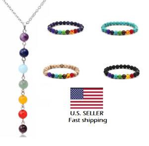 7 Chakra Lava Stone Beads Yoga Reiki Healing Energy Necklace Bracelet Jewelry