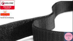 VELCRO® Brand SEW ON HOOK & LOOP SEWING/STITCH-ON fabric tape BLACK 16MM - 100MM