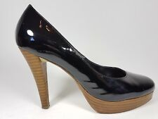 Dune black patent leather high heel shoes uk 5 eu 38