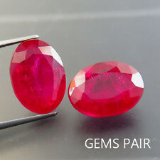23.25 ct Pigeon Blood Red Ruby Chathum Oval Gem Pair 11.25 x 15.2 mm