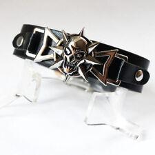 Skull Black Silver Bracelet Cuff Motorcycle Biker Gothic Punk Gift