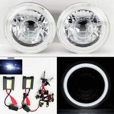 "7"" Round 10K HID Xenon H4 Clear Projector CCFL DRL Glass Headlights Pair Dodge"
