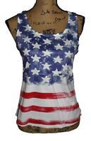 Women's Boutique NEW American Flag Stars Strips Racer Back Tank Top US Seller S