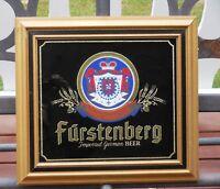 """Vintage FURSTENBERG Beer MIRROR Bar Sign Wood Frame 16-3/4"""" x 15-1/2"""""""