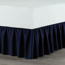 """Twin Size Bed Dust Ruffle Bedskirt in Navy with 14"""" drop"""