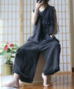 2019 Women Linen Loose Casual Jumpsuit Flax Retro Cotton Pants Romper Overall Sz