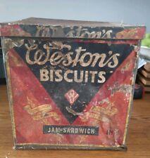 Vintage Weston's Metal Tin Advertising Jam Sandwich Biscuits