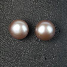 Boucles d/'Oreilles Perle de Culture Plate Argent 925 Blanc 11mm-12mm TZ2 C05