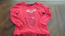 Lot of 2 Red Christmas Holiday Shirts Red Cat Reindeer Ruffle Tree Size 18-24M