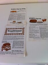 Vintage Fowler's West India Treacle & Golden Syrup Recipe Leaflets x 3 - VGC