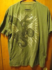Marc Ecko Snake Headed Eagle Riding Motorcycle T Shirt Large Olive Green