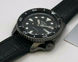 Seiko 5 Sports Men's Auto Gun metal steel Black Dial Strap Watch SRPD65K3