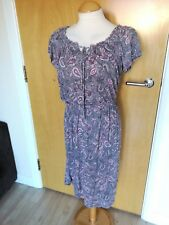 Ladies WRAP Dress Size 8 10 Grey Pink Paisley Light Jersey Smart Casual