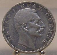 1904 Serbia Silver 2 Dinara, Old World Silver Coin, 3 Year type