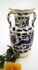 Henkelvase Handmade by Dakas Ceramik mit Goldrand & blauem Blumenmuster