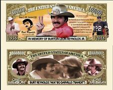 Burt Reynolds Million Dollar Bill Play Funny Money Novelty Note +FREE SLEEVE