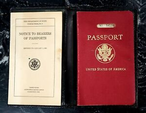 Vintage US Passport & Notice to Bearers of Passports 1933 |nearly mint condition