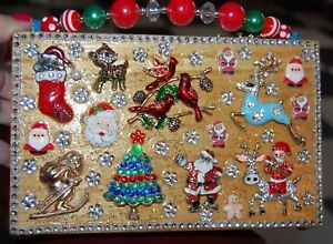 TIS THE SEASON Wood Box Purse THATS JUST CRAZY! Handbag Santa Claus Christmas