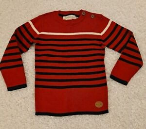 Boys H&M Red with Blue & White Stripes Crew Neck Long Sleeve Sweater US Sz 4-6