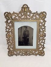 Large Antique Victorian Cast Brass Af Picture Frame with Old Photo