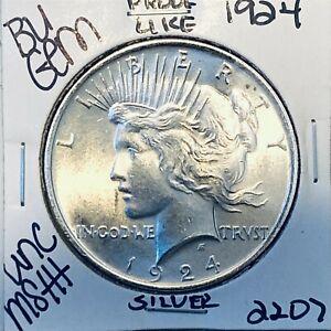 1924 P BU GEM PEACE SILVER DOLLAR UNC MS+ GENUINE U.S. MINT RARE COIN 2207