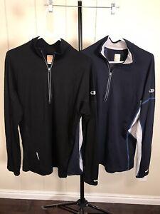 Icebreaker GT Lot of 2 Black & Navy Blue 200 Merino Wool 1/2 Zip Pullover Top XL