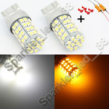 60-SMD 7443 Dual-Color Switchback LED Bulbs (60-White 60-Amber) + Load Resistor