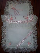 Stunning Baby Pram Set Romany Style with Lace & Crystals for Large Silver Cross